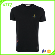 Stylish Breathable 180g Pure Cotton Fabric Custom Logo Men's Clothing Funny Embroidered Seamless T Shirt