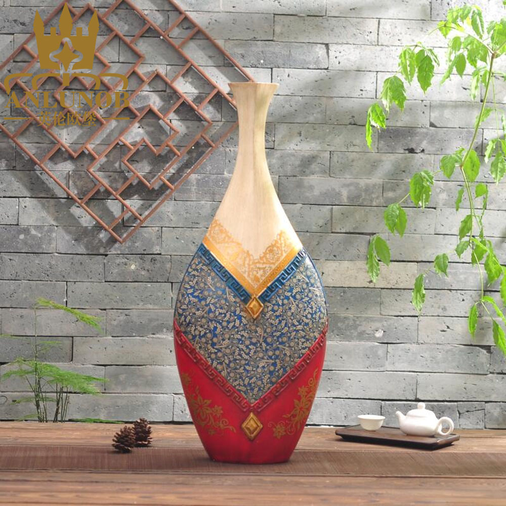 Palace Retro Handpainted Resin Vase European Style Home Decor Resin Vase