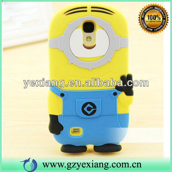 Whosale 3D Minion Case For Samsung Galaxy Note 2 Silicone Cover