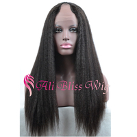 Cheap Lace Front Wig Half Hand Tied Middle Part 130 Density Italian Yaki U Part Brazilian Human Hair Wigs For Black Women