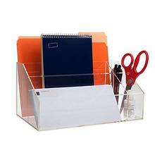 Clear Acrylic 5 Compartments Office Desk Top Organizer, Lucite Envelope/ Note Pad /File Holder