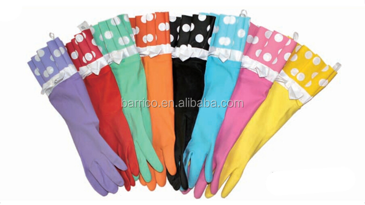 Malaysia price household latex gloves with design