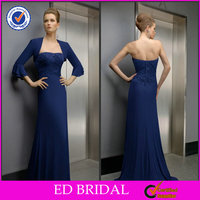 2014 Elegant Chiffon Royal Blue Mother Of The Bride Dress With Jackets