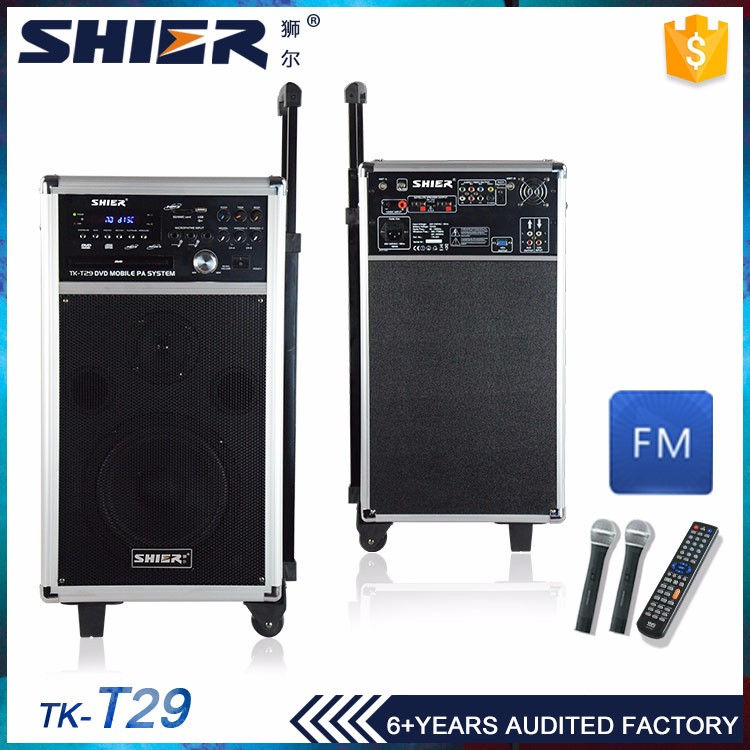 Trolley battery 120W powerful big sound system speaker with dvd player