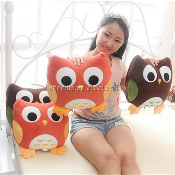 Multi use stuffed kids throw owl shaped coral plush toys conditioner bed sheet quilt cushion