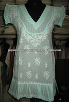 lucknow chikan embroidered kurti , Kurta , Tops India
