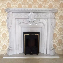 Home decoration elegant natural indoor carved marble fireplace on sale
