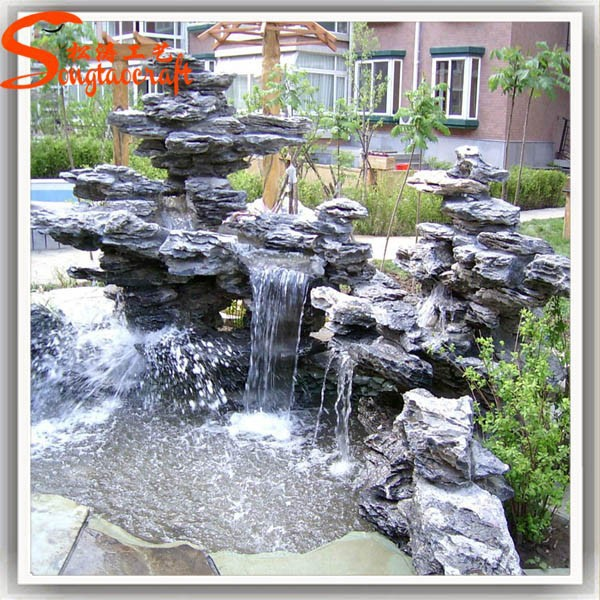 Factory customized outdoor artificial fiverglass decoration rock waterfall