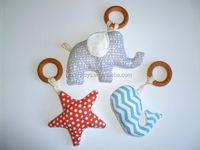 Organic Baby Toy Plush Wooden Teething Ring Rattle Elephant Starfish Whale