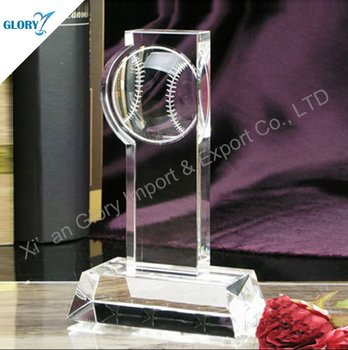 Baseball Glass Crystal Trophy For Sport