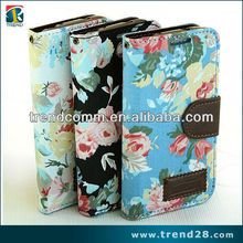 phone accessory wallet bag flower design leather case for samsung galaxy s4 mini i9190