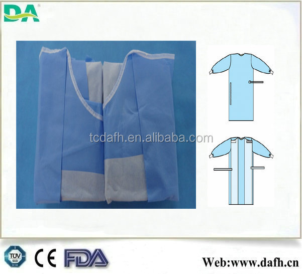 hospital use sterile packing knitted cuff SMMS surgical gown