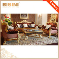 Italy Design Rococo Style Living Room Wooden Sofa Furniture / European Classic Goldleaf Elegant Purple Fabric Sofa Set