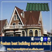 high quality 50 years guarranty light weight coated metal roof Braas roof tiles/ Soncap Certificate blue roof shingles