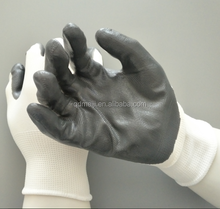 Nitrile coated black/white work durable safety gloves