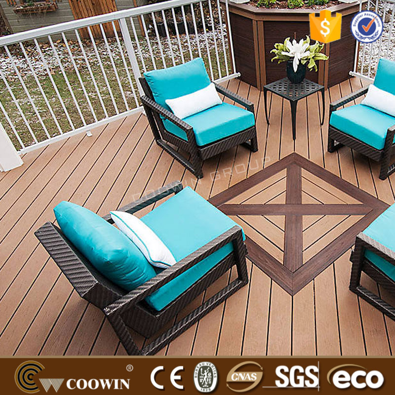 coowin wpc Plastic Wooden waterproof composite deck flooring CE certificate High quality