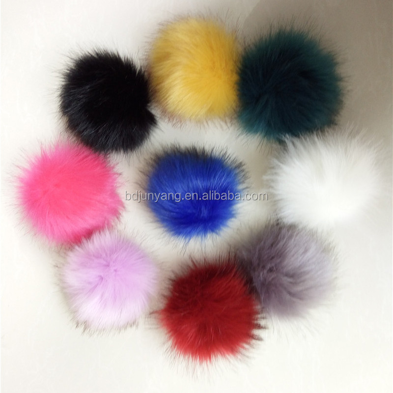 luxury real fox fur ball with pu leather strap bag hanger