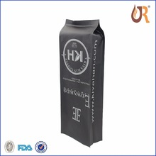 Customized aluminum foil side gusset flat bottom coffee packaging bags with gas release valve