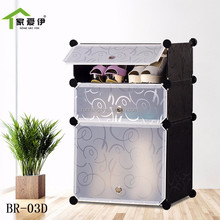 3 cubes plastic shoe rack storage cabinet with different color to choose and boot design