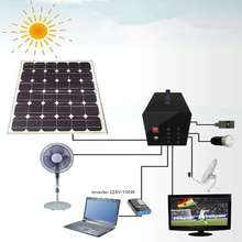 12V fiber optic solar light system with 60w solar panel for indoor lighting