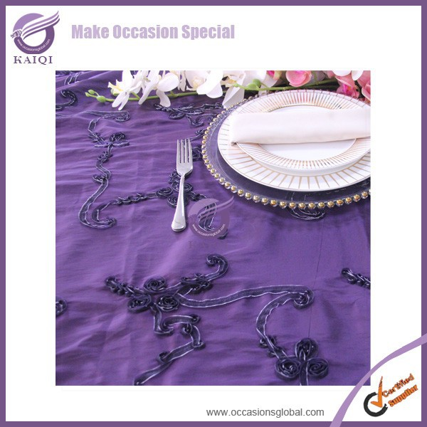 20804 wedding fancy dark purple net ribbon organza round factory table cloth