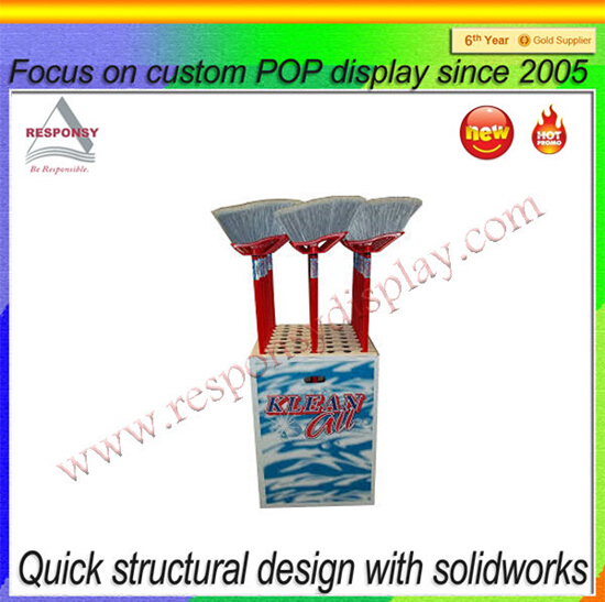 Factory cheap wood broom mass display exhibitor rack