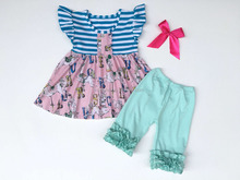 2017 Hot sale cupcake sets sleeveless dress and pink shorts children clothes girls