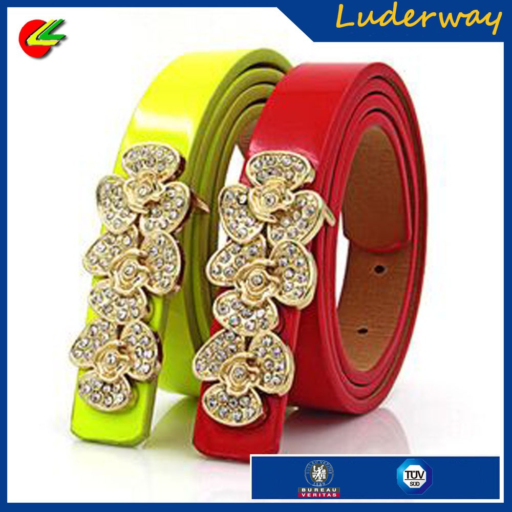 ladies pu leather belt models as decorate for dress with rhinestone flower buckle