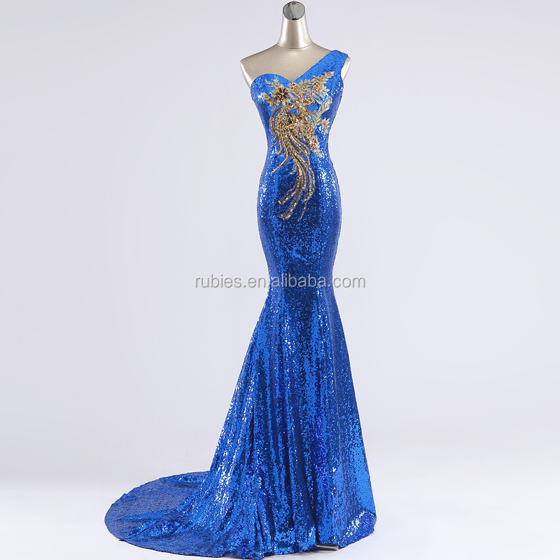 Sequins luxury handmade Slim Fishtail Evening Dress Moderator Dress Up Wedding Dress