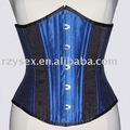 corset,underbust,Shine Blue & Black satin