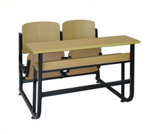 Double Student Wood Attached School Desk and Chair Connected