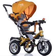 2016 Best Selling Products for Kids 4 IN 1 Baby tricycle with push bar, New Model Kids Tricycle Seat Can Rotate 360 Degree