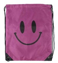 smile shape drawstring bag wholesale cotton fabric shoulder bag China drawstring bags