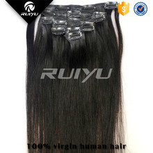 High quality Indian remy clip in streaks hair extensions 220g