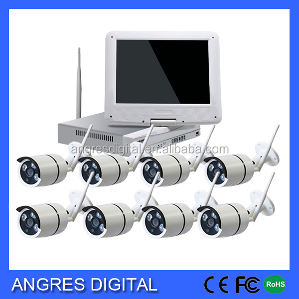 8CH 1080p 2mp Wireless Surveillance Camera System lcd monitor tv IP Camera NVR Combo