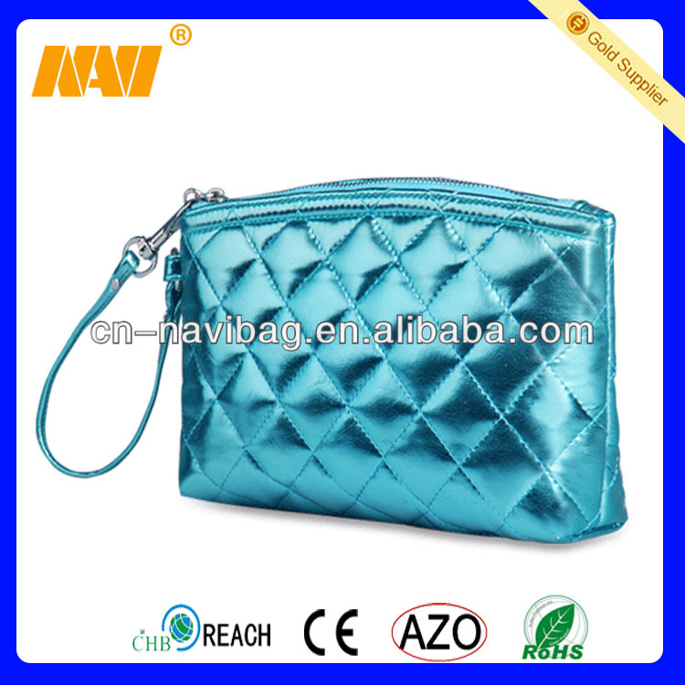 Chinese professional cosmetic bag factory produce shiny PU cosmetic bag(NV-CS032)