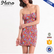 women summer sexy strapless floral print Bodycon dresses