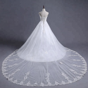 sweetheart ball gown lace up Princess Bridal Dress Strapless Puffy Vestidos De Novia lont tail Ball Gown 2018 Wedding Gowns