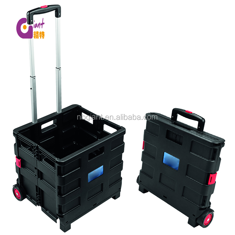 GTH 3001 Pack and roll 25kgs 35kgs portable foldable shopping trolly plastic folding cart