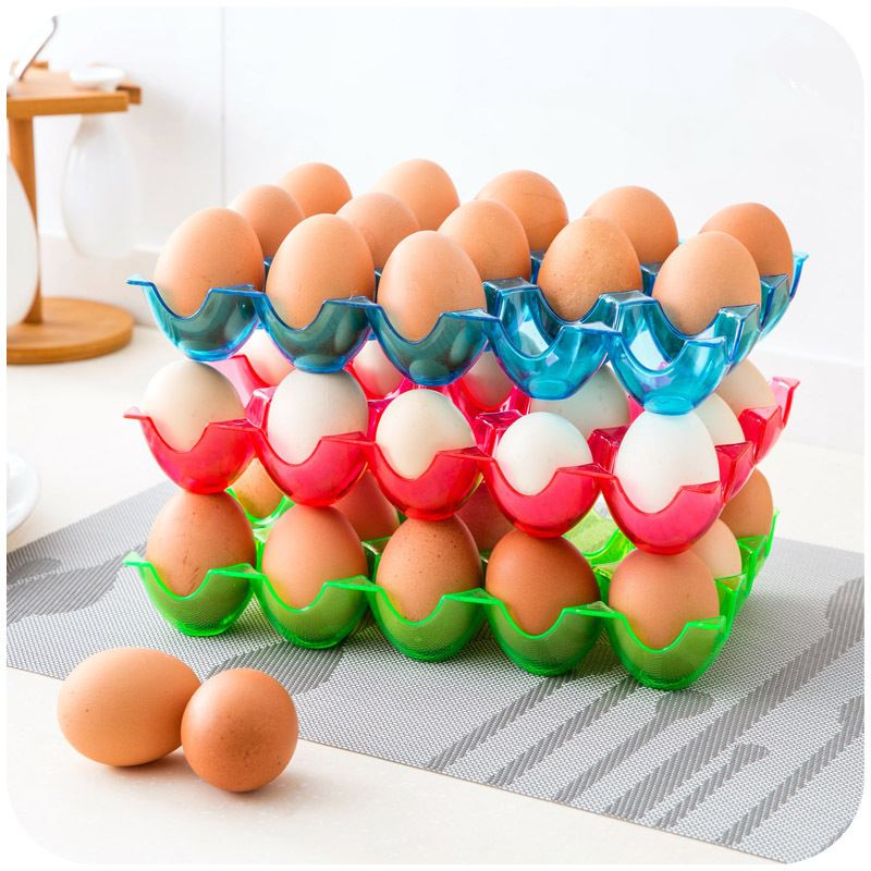Quality Portable Plastic 15 Grids Chicken Egg Holder, Transparent Color Egg Storage Bin, Refrigerator Crisper Egg Storage