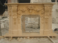 Beige Marble Fireplace Surround,Stone Fireplace Mantel