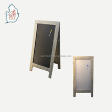 Wooden double side A frame standing magnetic steel chalkboard with metal accessories