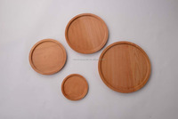 Round wooden tray and plate 100% beech wood 4pcs/set