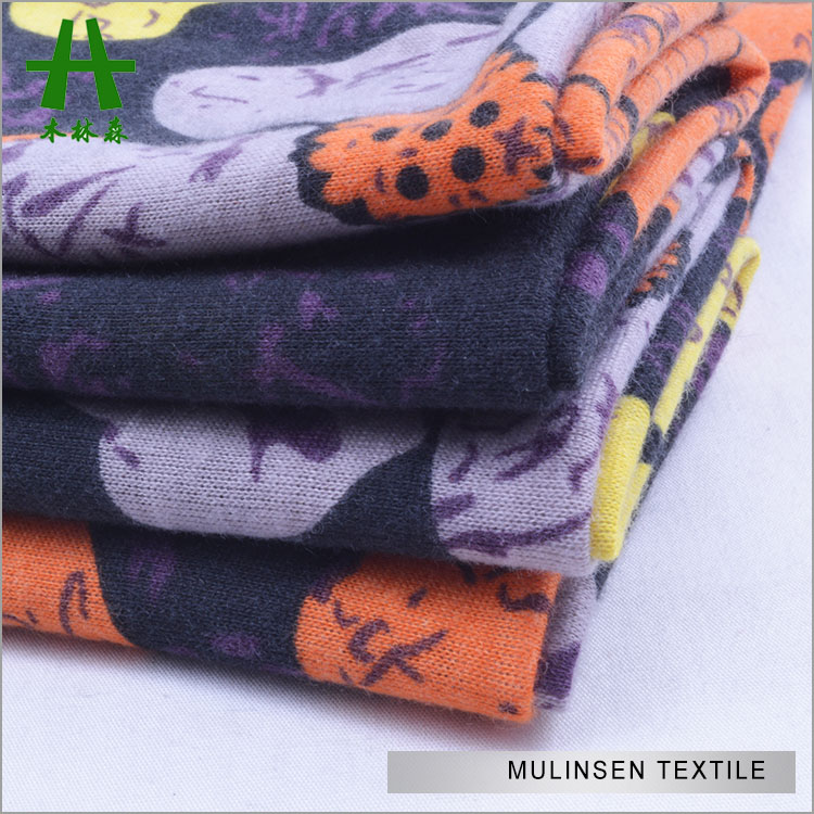 Mulinsen Textile Fashion Knit Black Ground Big Flower Printed Single Jersey Poly Spun Sri Lanka Fabric