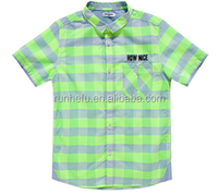 CONTRAST COLOR BOY SHIRT WITH SHOORT SLEEVE SLEEVE