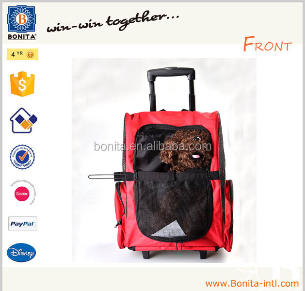New travel pet bag car dog cat pet carrier backpack bag with trolley