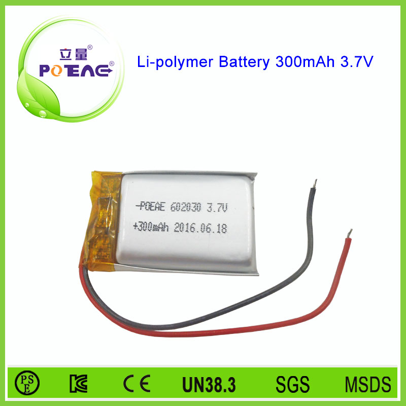 <strong>100</strong>% quality inspection 602030 3.7v 300mah lithium lipo battery