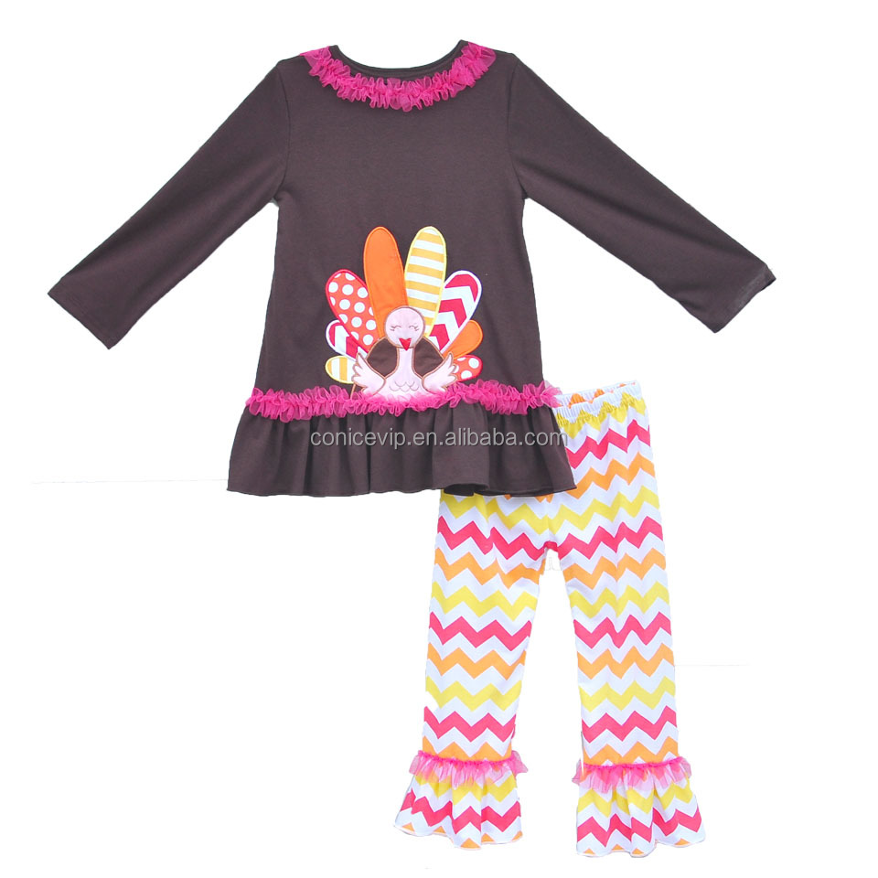 wholesale thanksgiving day baby girl boutique outfits turkey cartoon embroidered long sleeve chocolate lace clothing sets
