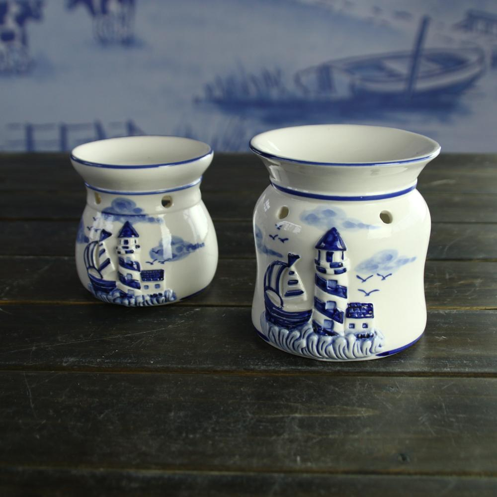 Delft ceramic blue and white hot selling candle holder aroma incense burner