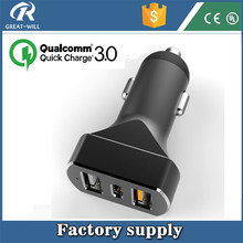Qualcomm Certified Fast High Speed 3 port quick charge 3.0 usb car charger